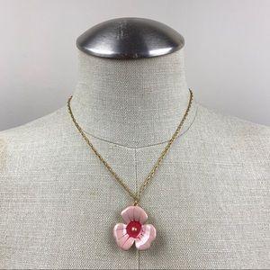 Pilgrim Pink Floral Pendant Necklace
